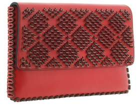 Nada Sawaya Cleo - Laser-cut Calfskin Flap Clutch - Red