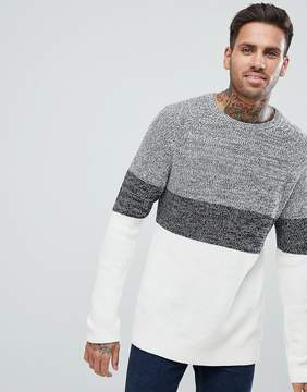 Pull&Bear Knit Sweater With Block Stripes In Off White