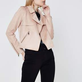 River Island Womens Petite light Pink faux suede biker jacket