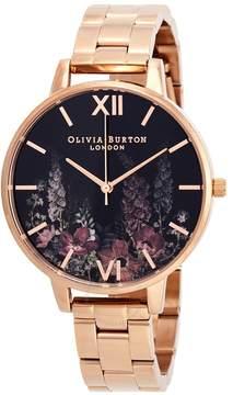 Olivia Burton Dark Bouquet Black Dial Ladies Watch