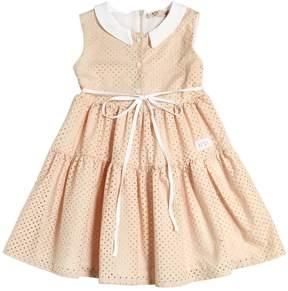 N°21 Stars Laser Cut Cotton Poplin Dress