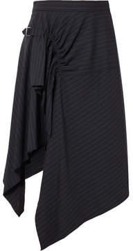 3.1 Phillip Lim Asymmetric Pinstriped Wool-blend Skirt - Navy