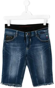 Philipp Plein Junior frayed edges denim shorts