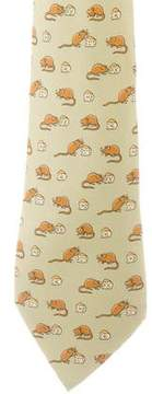 Hermes Mouse & Cheese Print Silk Tie