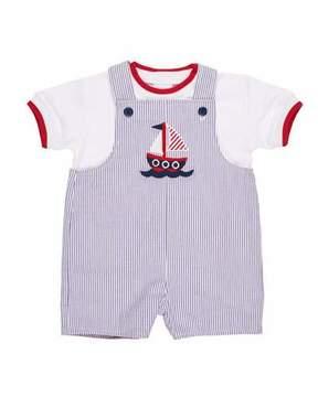Florence Eiseman Seersucker Reversible Shortall w/ T-Shirt, Size 3-24 Months