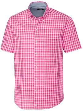 Cutter & Buck Hot Pink Plaid Diego Short-Sleeve Button-Up - Men