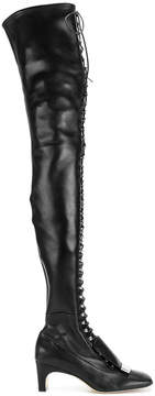 Sergio Rossi lace-up thigh high boots