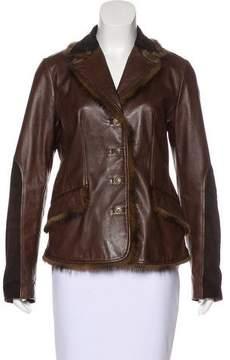 Blumarine Mink-Trimmed Leather Jacket