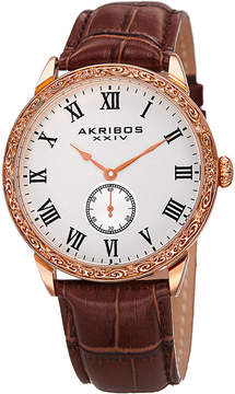 Akribos XXIV Mens Brown Strap Watch-A-867rg