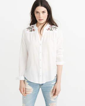 Abercrombie & Fitch Mandarin Collar Button-Up Shirt