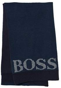 BOSS Navy Knit Branded Scarf