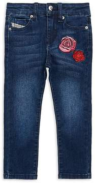 Diesel Girl's Embroidered Floral Jeans
