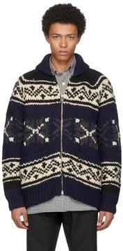 Junya Watanabe Navy and Grey Wool Roving Zip Sweater