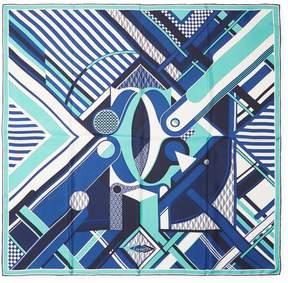 Cartier Women's Vintage Blue Geometric Silk Scarf, 34 x 34