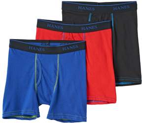 Hanes Boys 3-Pack Knit Boxer Briefs