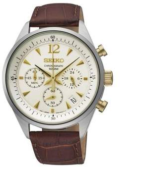 Seiko Men's 41mm Brown Leather Band Steel Case Quartz Champagne Dial Analog Watch SSB069P1