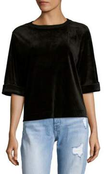 Cable & Gauge Roundneck Velvet Blouse