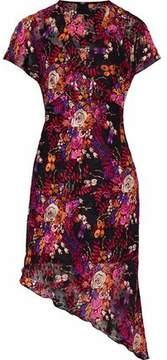 Anna Sui Asymmetric Appliquéd Floral-Print Fil Coupé Dress