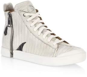 Diesel Men's Side-Zip Leather Sneakers