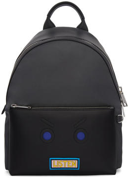 Fendi Grey and Black Faces Listen Backpack