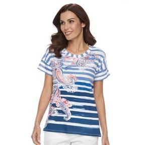 Caribbean Joe Women's Paisely Striped Tee
