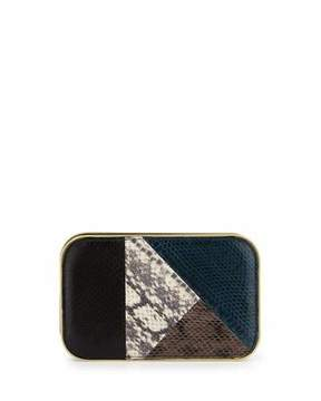 Rafe Daniela Small Snakeskin Framed Clutch Bag, Teal Combo