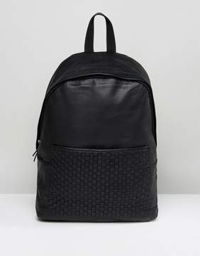 Asos Backpack In Black Leather With Woven Pocket