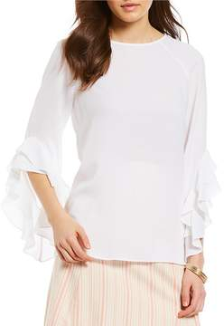 Daniel Cremieux Madelyn Solid Ruffle Bell Sleeve Blouse