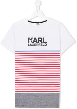 Karl Lagerfeld TEEN striped logo T-shirt
