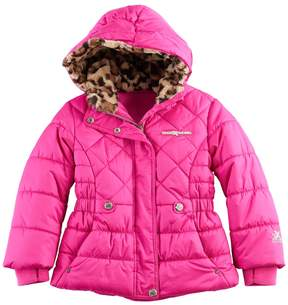 ZeroXposur Girls 4-6x Cheetah Print Faux-Fur Heavyweight Puffer Jacket