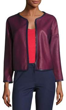 Armani Collezioni Perforated Leather Zip-Front Jacket, Navy/Red