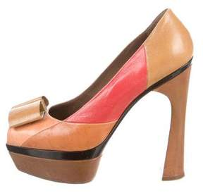 Marni Bow-Accented Colorblock Pumps