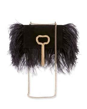 Roger Vivier Club Chain Feathers Evening Clutch Bag