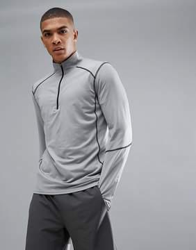 New Look SPORT Long Sleeve Top With Half Zip In Gray