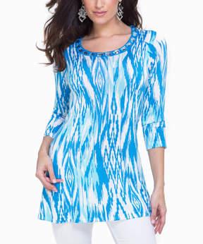 Belldini Blue Ikat Embellished Scoop Neck Tunic - Women