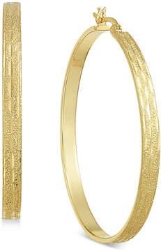 Essentials Silver Plated Textured Flat Hoop Earrings