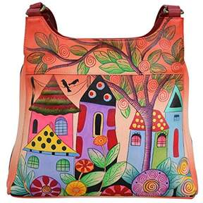Anuschka Anna by Genuine Leather Triple Compartment Satchel | Hand Painted Original Artwork |