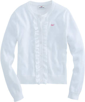 Vineyard Vines Girls Ruffle Placket Cotton Cardigan