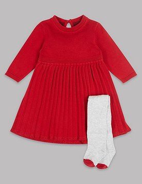 Marks and Spencer 2 Piece Knitted Pleat Dress with Tights