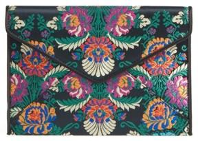 Rebecca Minkoff Leo Satin Floral Clutch - Black