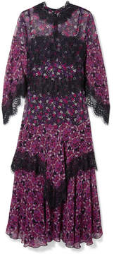 Anna Sui Incense And Joy Lace-trimmed Printed Silk-chiffon Midi Dress - Purple