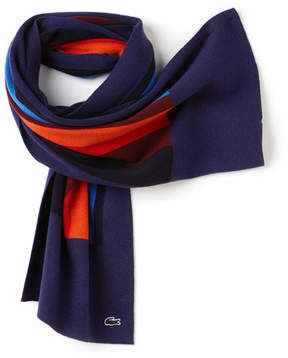 Lacoste Unisex Colorblock Wool And Cashmere Scarf
