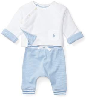 Ralph Lauren | Cotton Shirt Pant Set | 6-12 months | Sconset blue/white
