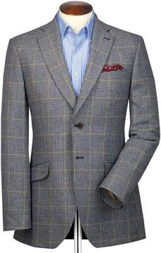 Charles Tyrwhitt Classic Fit Blue and Beige Checkered British Tweed Cotton/Cashmere Jacket Size 40