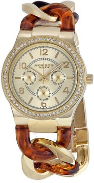 Akribos XXIV Akribos GMT Multi-Function Tortoise Resin and Gold-Tone Ladies Watch