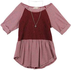 Speechless Girls 7-16 & Plus Size Lace Striped Tunic with Necklace