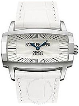 Patek Philippe Gondolo Gemma Mother Of Pearl Dial White Leather Ladies Watch