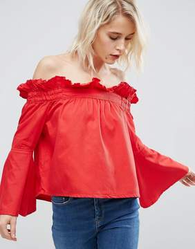 Asos Denim Off Shoulder Top with Flared Sleeves In Red