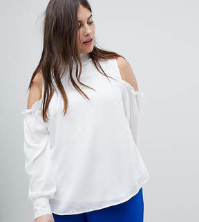 Fashion Union Plus Cold Shoulder Blouse With High Neck And Balloon Sleeves