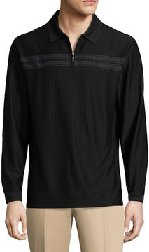 Haggar Long Sleeve Quarter-Zip Poly Polo Shirt